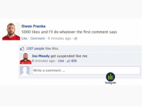 Instagram, Memes, and Rugby: Owen Franks  5000 likes and I'll do whatever the first comment says  Like Comment 9 minutes ago  1207 people like this.  Joe Moody get suspended like me  8 minutes ago . Like- 826  Write a comment.  MEMES  Instagram What's going on at the Poosaders? 😂😂🤷🏻‍♀️ rugby crusaders banter