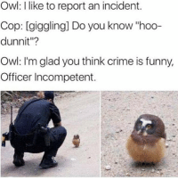 "Crime, Funny, and Memes: Owl: like to report an incident.  Cop: [giggling] Do you know ""hoo-  dunnit""?  Owl: I'm glad you think crime is funny,  Officer Incompetent. That's Twelve For Ya... 😂😂😂😂 pettypost pettyastheycome straightclownin hegotjokes jokesfordays itsjustjokespeople itsfunnytome funnyisfunny randomhumor animalhumor rellstilldarealest"