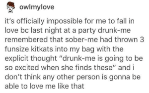 """Surprises for the drunk one: owlmylove  it's officially impossible for me to fall in  love bc last night at a party drunk-me  remembered that sober-me had thrown 3  funsize kitkats into my bag with the  explicit thought """"drunk-me is going to be  so excited when she finds these"""" and i  don't think any other person is gonna be  able to love me like that Surprises for the drunk one"""