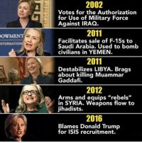 """ISIS: OWM  NTERNA  2002  Votes for the Authorization  for Use of Military Force  Against IRAQ.  2011  Facilitates sale of F-15s to  Saudi Arabia. Used to bomb  civilians in YEMEN.  2011  Destabilizes LIBYA. Brags  about killing Muammar  Gaddafi.  2012  Arms and equips """"rebels""""  in SYRIA. Weapons flow to  jihadists.  2016  Blames Donald Trump  for ISIS recruitment."""