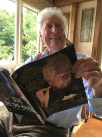 Doctor, Memes, and Happy: own.  紫 We went round to Tom Baker's house yesterday to deliver his copy of the brand new Doctor Who Magazine personally! Issue 501, featuring The Ultimate Interview with Tom Baker, is on sale now. Happy Times and Places!