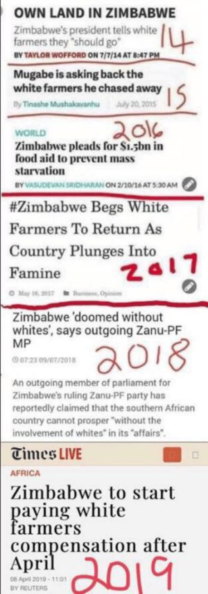 """Thanks Robert Mugabe, we'll take it from here.: OWN LAND IN ZIMBABWE  4  Zimbabwe's president tells white  farmers they """"should go  BY TAYLOR WOFFORD ON 7/7/14 AT 8:47 PM  Mugabe is asking back the  white farmers he chased away  By Tinashe Mushakavanhu July 20,2015  I5  WORLD  Zimbabwe pleads for S1.sbn in  food aid to prevent mass  starvation  BY VASUDEVAN SRICHARAN ON 2/10/16 AT 5:30AM  #Zimbabwe Begs White  Farmers To Return As  Country Plunges Into  Za17  Famine  O May 16, 2017einess Opinion  Zimbabwe 'doomed without  whites', says outgoing Zanu-PF  MP  aoi8  07 23 09/07/2018  An outgoing member of parliament for  Zimbabwe's ruling Zanu-PF party has  reportedly claimed that the southern African  country cannot prosper """"without the  involvement of whites in its """"affairs""""  Times LIVE  AFRICA  Zimbabwe to start  paying white  farmers  compensation after  Аpril  2019  08 April 2019-11:01  BY REUTERS Thanks Robert Mugabe, we'll take it from here."""