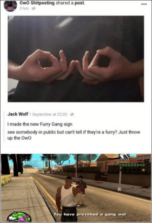 76 Funny Pics And Memes We've Been Loving Lately: Owo Shitposting shared a post.  3 hrs  Jack Wolf 1 September at 22:35  I made the new Furry Gang sign  see somebody in public but can't tell if they're a furry? Just throw  up the Owo  94-49  GOOD2034  You have provoked a gang war  : 76 Funny Pics And Memes We've Been Loving Lately
