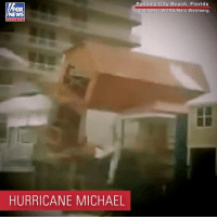 Memes, Beach, and Florida: OX  City Beach, Florida  RB/Marc Weinberg  channel  HURRICANE MICHAEL Powerful winds from Hurricane Michael knocked this house right off of its stilts Wednesday in Panama City Beach, Florida. The building was reportedly new construction.