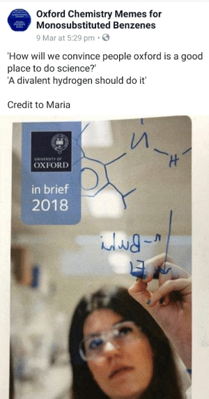 Oxford university students, making memes the dumb people don't get...: Oxford Chemistry Memes for  Monosubstituted Benzenes  Isorganic Chemistry  9Mar at 5:29 pm.  How will we convince people oxford is a good  place to do science?  A divalent hydrogen should do it'  Credit to Maria  UNIVERSITY OF  OXFORD  in brief  2018 Oxford university students, making memes the dumb people don't get...