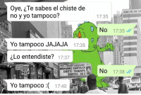 Sex, Yo, and Dirty: Oye, Te sabes el chiste de  no y yo tampoco?  AMERICAN SA  17:35  3.No  17:35 ://  Yo tampoco JAJAJA  17:35  zLo entendiste? 17:37  OMANS FANTASY  DIRTY TRAMPS  EROTIC SEX  No  PEEP  17:38﹀//  Yo tampoco :(  17:40