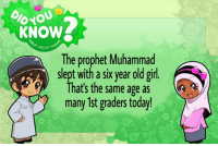 "Memes, Girl, and Http: oyou  KNOW  The prophet Muhammad  slept with a six year old girl  That's the same age as  many 1st graders today! <p>Islam memes on the rise! Normies won't touch them! Buy! via /r/MemeEconomy <a href=""http://ift.tt/2tHzzTE"">http://ift.tt/2tHzzTE</a></p>"