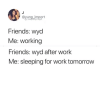 Wyd: oyung import  Friends: wyd  Me: working  Friends: wyd after work  Me: sleeping for work tomorrow