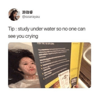 Crying, Memes, and Water: @ozarayau  Tip:study under water so no one can  see you crying  FOR TNEIS PLA 😂Genius Cr @ozarayau
