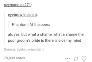 Phantom!: ozymandias271  eyebrow-incident:  Phantom! At the opera  ah, yes, but what a shame, what a shame the  poor groom's bride is there, inside my mind  Source: eyebrow-incident  79,839 notes Phantom!