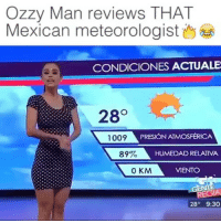 Memes, 🤖, and Ozzy: Ozzy Man reviews THAT  CONDICIONES ACTUALE  28  1009  PRESIONATMOSFERICA  89%  HUMEDAD RELATVA  0 KM  VIENTO  28  9:30 What Youtuber is this