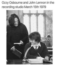Ozzy and John, 1979.: Ozzy Osbourne and John Lennon in the  recording studio March 15th 1979 Ozzy and John, 1979.