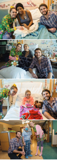 Funny, Children's Hospital, and Hospital: p   0100   er  a  3の   Ea Miley and Liam visiting patients today at Rady Children's hospital ❤️