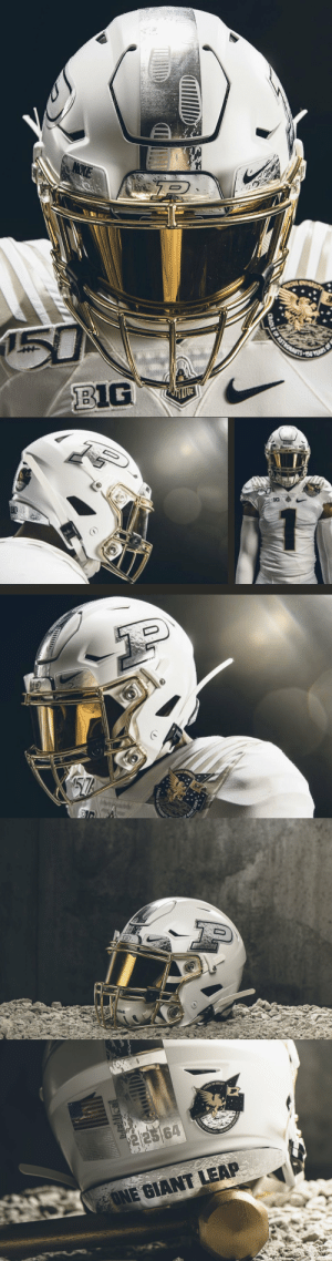 Purdue unveiled a custom moon-inspired helmet and astronaut-themed patch for today's homecoming game https://t.co/8hdAD8Cfz1: P  50  ASTRONANITS EO YEARS  BIG   50  1G  57%   ddell.   RECERT  PURDUE UNIVERSITY  20  WARNING  CRADLE OF ASTRONAUTS  $22564  158 YEARS OF G  FONE GIANT LEAP Purdue unveiled a custom moon-inspired helmet and astronaut-themed patch for today's homecoming game https://t.co/8hdAD8Cfz1