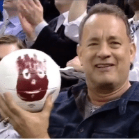 Tom Hanks reunited with Wilson at the @nyrangers game last night!!!! (Via @nyrangers): P Tom Hanks reunited with Wilson at the @nyrangers game last night!!!! (Via @nyrangers)