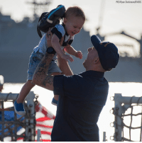 Memes, Florida, and Home: P03 Ryan Dickinson DVIDS A Coast Guard Cutter Valiant crew member lifts his child as he returns home to Naval Station Mayport, Florida. The Valiant crew returned to homeport after a six-week counter-drug patrol in the Caribbean.