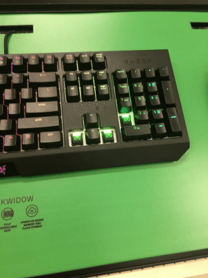 Some fucking madlad took some key caps from a target display keyboard: P10  F11  prt sc  sys ra  F12  pause  break  ser ik  RAZER  Ins  home  page  up  num Ik  page  down  del  9 B  7home  end  6 >  1 end  enter  2 v 3 BK  shift  Up  enter  del  O Ins  ctrl  fn  99  KWIDOW  HYBRID ON-BOARD  MEMORY AND  CLOUD STORAGE  FULLY  ONTROLLABLE  KEYS Some fucking madlad took some key caps from a target display keyboard