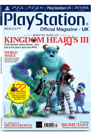 the-good-captn:  minakokc: Uk PlayStation magazine cover of Kingdom Hearts 3 looks great Thank God : P4 PlyStation.VR PSVITA  PlayStation.  İSSUE 147 APRL 2018 essa  gamesra5ar.com/opm  Official Magazine UK  MONSTER MASH-UP  KINGDOM HEARTS III  Final Fantasy meets Disney -why  this is the year's best new RPG!  WORLD  WARZ  Can you survive 1,000  zombies? First details  and screens inside  A22  PAGES OF REVIEWS  Yakuza 6 is here!  Plus Metal Gear  Survive rated  INTERVIEW  A11.NEw DETAILS  04  METROEXODUS  İBIOMUTANT  Now screens &info on the open world FPS  771752? 10016  Got closor to the year's strangeat game the-good-captn:  minakokc: Uk PlayStation magazine cover of Kingdom Hearts 3 looks great Thank God