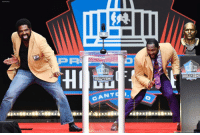 Football, Memes, and Nfl: PA  93111  HI  HALLOF FAME  HALLFFAME  CANTS Former NFL players Ray Lewis, right, and Jonathan Ogden dance on stage during Lewis' induction speech at the Pro Football Hall of Fame on Saturday, Aug. 4, 2018, in Canton, Ohio.