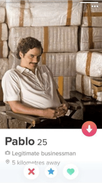 Match, Pablo, and Businessman: Pablo 25  Legitimate businessman  5 kilometres away The perfect match does not exi-