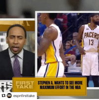 The incentive to win needs to be prioritized more! nba: PACER  STEPHEN A. WANTS TO SEE MORE  FIRST  TAKE  MAXIMUM EFFORT IN THE NBA  tu espnfirsttake The incentive to win needs to be prioritized more! nba