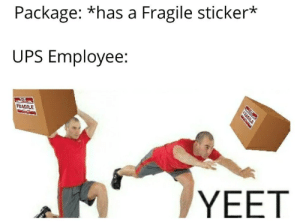 YEET: Package: *has a Fragile sticker*  UPS Employee:  FRAGILE  YEET YEET