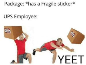 Be Like, Dank, and Memes: Package: *has a Fragile sticker*  UPS Employee:  YEET It really do be like that by do_you_still_exist MORE MEMES