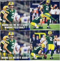 Mason Crosby has ice in his veins. Clutch GBvsDAL NFL Packers GoPackGo with @packerposts 📷: packers.com: PACKER POSTS  WANNA SEE ME HIT A GAME  WINNING FIELD GOALP  WANNA SEE ME DO IT AGAIN?  THEPACKERPAGE Mason Crosby has ice in his veins. Clutch GBvsDAL NFL Packers GoPackGo with @packerposts 📷: packers.com