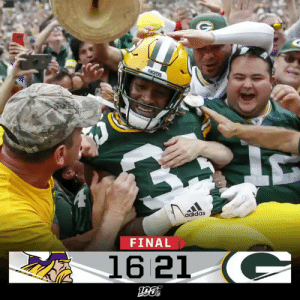 FINAL: The @packers get the Week 2 rivalry win over the Vikings! #MINvsGB https://t.co/znslGgw4Uz: PACKERS  adidas  FINAL  16 21 C FINAL: The @packers get the Week 2 rivalry win over the Vikings! #MINvsGB https://t.co/znslGgw4Uz