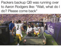 """Aaron Rodgers, Football, and Nfl: Packers backup QB was running over  to Aaron Rodgers like: """"Wait, what do l  do? Please come back""""  FOX  FOXNFL  HUNOLE  12  FUNNIESTNFLMEMESS 😂 https://t.co/8gTMTTmXv3"""