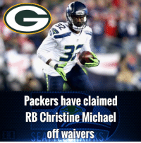 Green Bay Packers have claimed RB Christine Michael off waivers.: Packers have claimed  RB Christine Michael  off waivers Green Bay Packers have claimed RB Christine Michael off waivers.