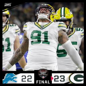 FINAL: @crosbykicks2 secures the win for the @packers on #MNF! #DETvsGB #GoPackGo  (by @Lexus) https://t.co/HdjpF27AHU: PACKERS  MONDAY  NIGHT  FOOTBALL  23G  22  FINAL FINAL: @crosbykicks2 secures the win for the @packers on #MNF! #DETvsGB #GoPackGo  (by @Lexus) https://t.co/HdjpF27AHU
