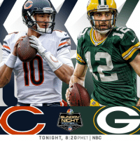 Football, Memes, and Nfl: PACKERS  NBC  NICHT  FOOTBALL  NFL  TONIGHT, 8:20PMETİ NBC .@ChicagoBears take on the @packers in Lambeau.  Sunday Night Football starts now on @SNFonNBC! #CHIvsGB #DaBears #GoPackGo https://t.co/dqp1PYNAHc