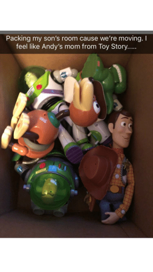 Toy Story, Mom, and Story: Packing my son's room cause we're moving. I  feel like Andy's mom from Toy Story... Does everyone have their moving buddy?