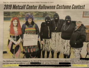 """My hometown's senior center costume contest. They look like gimps in their black face costume. They took 1st place...: Page 16 - Anaconda Leader Smelter City Seniors -Friday, November 15, 2019  2019 Metcalf Center Halloween Costume Contest  MonTana  Halloween  CosFummg  Leader photos:  The Halloween Costume Contest at the Metcalf Memorial Senior Citizens Center always brings out the characters,  taking second place and  -taking first place.  nleft, taking third place,  and this year was no different with  """"the Village People"""" My hometown's senior center costume contest. They look like gimps in their black face costume. They took 1st place..."""