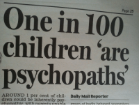 dren: Page 25  One in 100  children are  psychopaths  AROUND 1 per cent of chil- Daily Mail Reporter  dren could be inherently psy  chonathic with narentsunable groun of hadly hehaved voungsters
