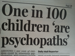 dren: Page 25  One in 100  children 'are  psychopaths  AROUND 1 per cent of chil- Daily Mail Reporter  dren could be inherently psy  chonathic with narents unabieproun of hadly hehaved vounesters