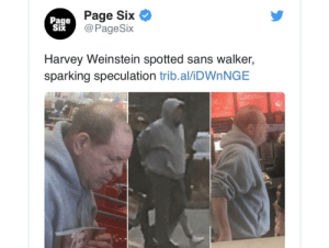 @nycjim revolting sympathy attempt with the  walker in the photo https://t.co/QDnnHTpDuF: Page Six  @PageSix  Page  Six  Harvey Weinstein spotted sans walker,  sparking speculation trib.al/IDWNNGE @nycjim revolting sympathy attempt with the  walker in the photo https://t.co/QDnnHTpDuF