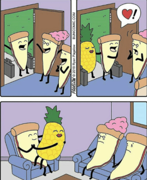 Pineapple on pizza: PAGELOW  2019 Ryan Pagelow  BUNICOMIC.COM Pineapple on pizza