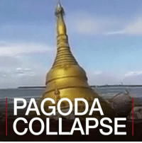 Memes, Government, and 🤖: PAGODA  COLLAPSE 25 JUL: Rising floodwaters have swallowed a Buddhist pagoda in central Myanmar and sent tens of thousands fleeing their homes, as the government warned of more rains in coming days. Pagoda Buddhist Myanmar Magway IrrawaddyRiver AyeyarwaddyRiver River Flood BBCShorts BBCNews @BBCNews