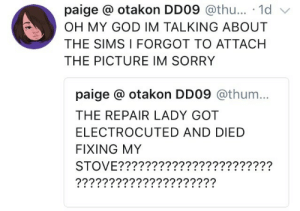 God, Oh My God, and Sorry: paige otakon DD09 @thu... 1d v  OH MY GOD IM TALKING ABOUT  THE SIMS I FORGOT TO ATTACH  THE PICTURE IM SORRY  paige otakon DD09 @thum...  THE REPAIR LADY GOT  ELECTROCUTED AND DIED  FIXING MY  STOVE???????????????????????