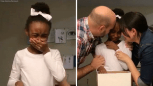 Facebook, Family, and Fucking: Paige Zezulka/Facebook webofgoodnews:  Girl learns she's being adopted and her reaction will bring tears to your eyes Ten-year-old Ivey Zezulka learning that she's going to be adopted by her foster family might be the most heartwarming thing you'll see today. Her foster parents Paige and Daniel recently surprised her with the news that they had finalized plans to adopt Ivey and her biological siblings Kai, 3, and Lita, 2, who had all spent years in foster care.  Read more and see video   I fucking knew it was coming.