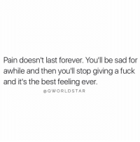 "Life, Worldstar, and Best: Pain doesn't last forever. You'll be sad for  awhile and then youll stop giving a fuck  and it's the best feeling ever.  @Q WORLDSTAR ""That's just life..."" 💯 @QWorldstar https://t.co/5NOFaDQZqj"