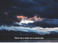 velvet: Paint me a wish on a velvet sky