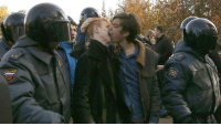 paintdeath:Gay rights activists kiss as they are detained by police officers during a gay rights protest in St. Petersburg: paintdeath:Gay rights activists kiss as they are detained by police officers during a gay rights protest in St. Petersburg