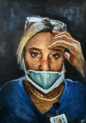 """Painted this week in honor of all the healthcare workers on the frontlines, """"Sophie"""": Painted this week in honor of all the healthcare workers on the frontlines, """"Sophie"""""""