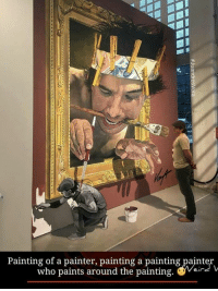 painter: Painting of a painter, painting a painting paint  who paints around the painting. Weir