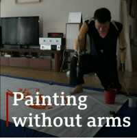 Memes, Lost, and Work: Painting  without arms Seok Chang-woo lost both his arms in accident 30 years ago but was determined not to let his disability hold him back. The artist started by drawing for his young son and now paints using his whole body to create some remarkable work. art artistsoninstagram painting artwork bbcnews