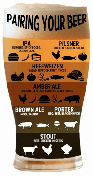 Beef, Beer, and Instagram: PAIRING YOUR BEER  IPA  PILSNER  CHICKEN. SALMON. SALAD  BURGERS. SPICY FO0DS  CARROT CAKE  HEFEWEIZEN  SALAD. SEAFOOD. FRUIT. TACOS  AMBER ALE  CHICKEN. SEAFOOD. BURGERS. SPICY FOODS  BROWN ALE PORTER  PORK, SALMON  88Q. BEEF. BLACKEND FISH  STOUT  BEEF, CHICKEN, OYSTERS beeranyone:  Pairing your BeerCheck us out on Instagram: @beeranyone