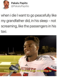 Taxi, Sleep, and Yes: Pakalu Papito  @PakaluPapitio  when i die l want to go peacefully like  my grandfather did, in his sleep - not  screaming, like the passengers in his  taxi.  They had us in the firstbalf, not gonna lie Well yes but no